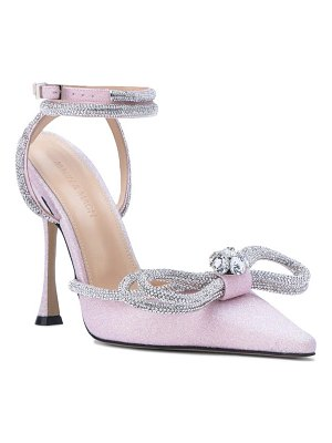 Mach & Mach glitter double crystal bow pointed toe pump