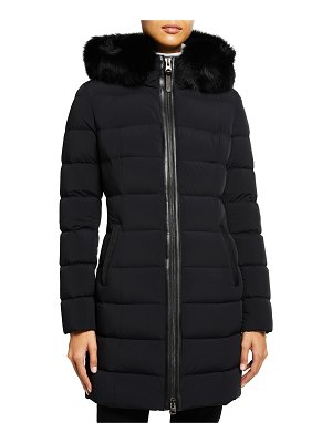 Mackage Calla Stretch Lightweight Down Jacket with Fur Ruff