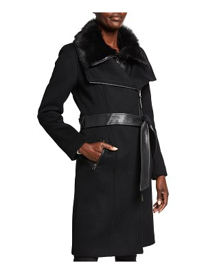 Mackage Nori Double-Collar Belted Coat with Shearling