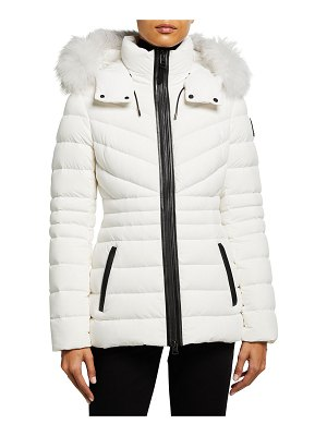 Mackage Pasty Lightweight Down Stretch Coat with Fur Ruff