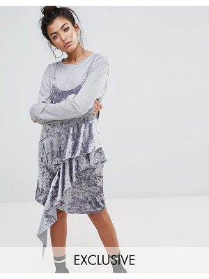 Mad But Magic cami dress with frills in crushed velvet-silver