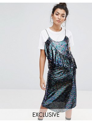 Mad But Magic sequin cami dress with frill-purple