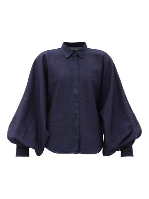 Made In Tomboy claire balloon-sleeve denim top
