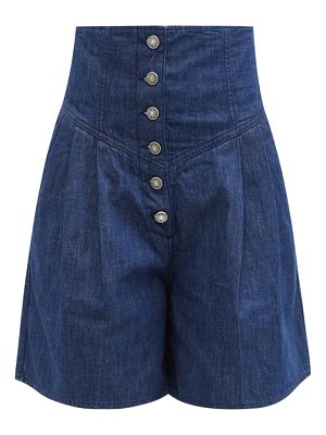 Made In Tomboy pleated wide-leg denim shorts