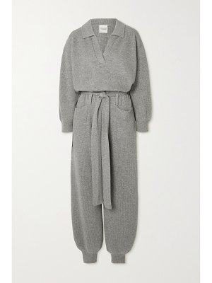 Madeleine Thompson morzine belted ribbed wool and cashmere-blend jumpsuit