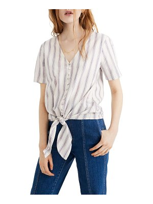 Madewell agency stripe tie front button top