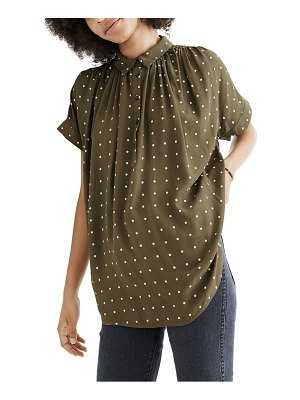 Madewell central grid dot popover shirt