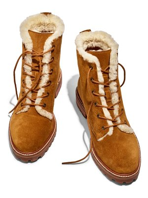 Madewell clair genuine shearling lined lace-up suede boot