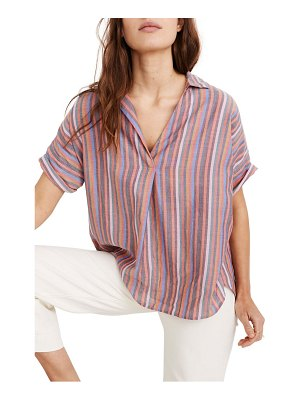 Madewell courier rainbow stripe button back shirt