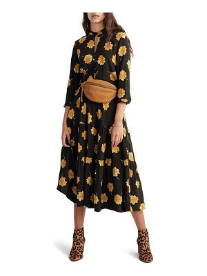 Madewell fall floral button front tier dress
