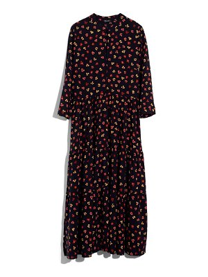 Madewell feline floral button front tier midi dress