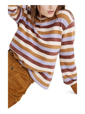 Madewell mock neck bubble sleeve stripe sweatshirt