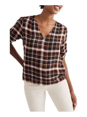 Madewell plaid cinch sleeve top