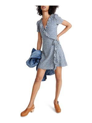Madewell silk ruffle edge wrap dress in bitsy floral
