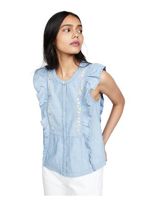 Madewell floral embroidered denim ruffle top