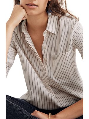 Madewell stripe button back flannel classic ex-boyfriend shirt
