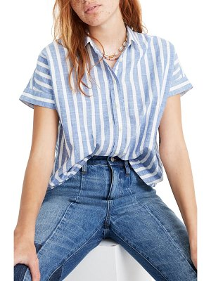 Madewell stripe crop button-up shirt