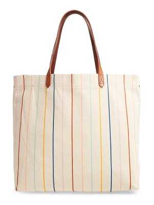 Madewell the canvas transport tote: rainbow pinstripe edition