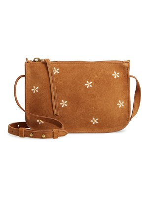 Madewell the simple daisy embroidered suede crossbody bag
