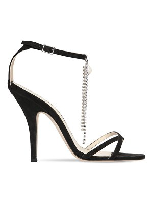 65411a3da305 Gucci 110mm Ilse Crystal T-Strap Suede Sandal in Black