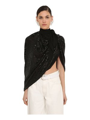 Magda Butrym Sequined silk mousseline cape top