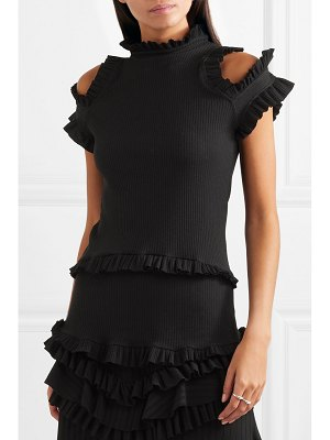 Maggie Marilyn dreaming of you ruffled cutout ribbed-knit top