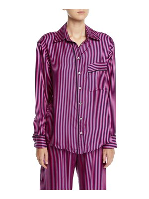 Maggie Marilyn Hand In My Hand Striped Silk Button-Down Shirt