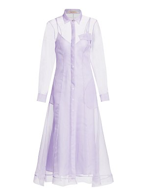 Maggie Marilyn keep it together silk tulle maxi a-line shirtdress