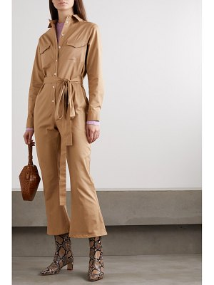 Maggie Marilyn net sustain bite the bullet cropped belted cotton-blend twill jumpsuit