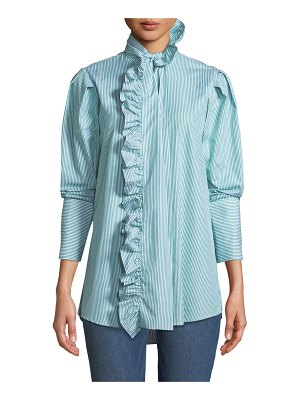 Maggie Marilyn Second Nature Striped Ruffle Button-Down Shirt