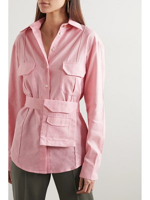 Maggie Marilyn stronger together belted organic cotton and linen-blend shirt