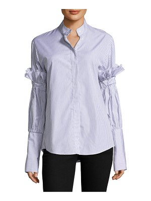 Maggie Marilyn You Change the World Striped Cotton Button-Down Shirt