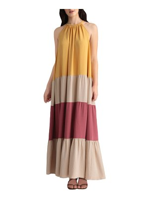 Maggy London colorblock tiered maxi dress