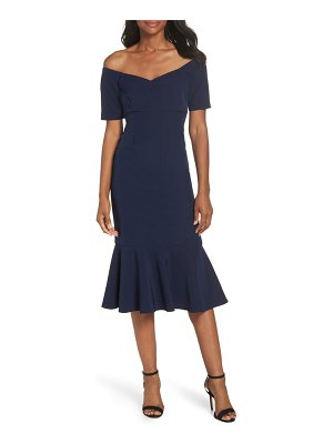 Maggy London dream crepe off the shoulder midi dress