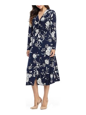 Maggy London long sleeve floral ruched jersey midi dress