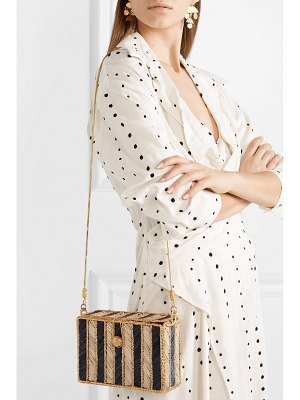 Magnetic Midnight rayas woven palm leaf and gold-plated shoulder bag
