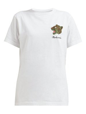 Maharishi leopard embroidered cotton t shirt