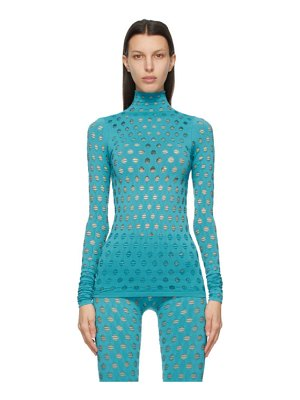Maisie Wilen blue perforated turtleneck