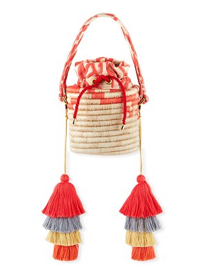 Maison Alma Woven Straw Bucket Bag