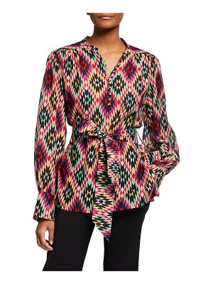 Maison Common Abstract Printed Belted Cotton Blouse