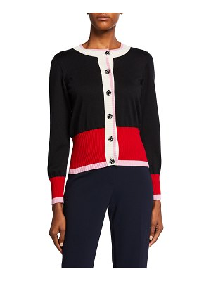 Maison Common Colorblock Wide-Banded Cardigan