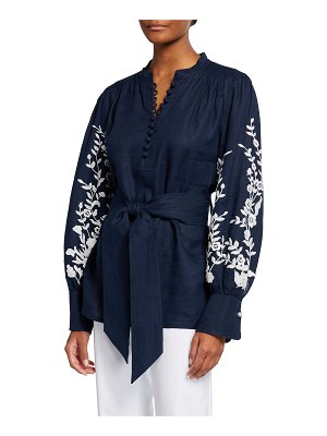 Maison Common Linen Embroidered Belted Blouse