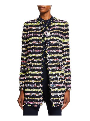 Maison Common Ribbon Tweed Button-Front Jacket