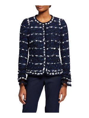 Maison Common Tweed Bell-Sleeve Jacket w/ Tulle Cuffs