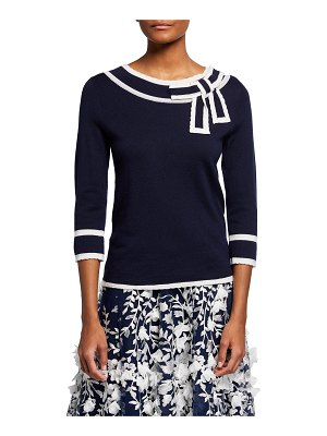 Maison Common Wool Contrast-Trim Sweater w/ Bow Detail