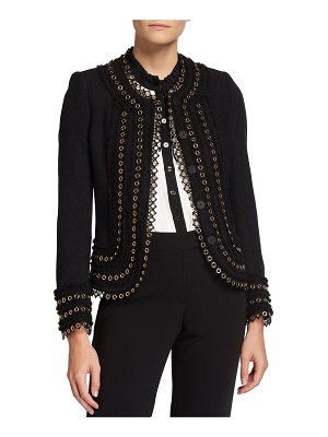 Maison Common Wool Snap-Front Jacket with Grommets