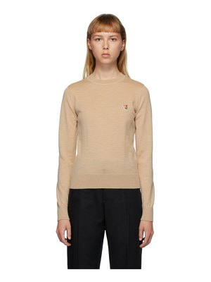 Maison Kitsune beige wool fox head sweater