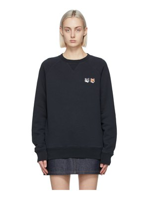 Maison Kitsune black double fox head sweatshirt