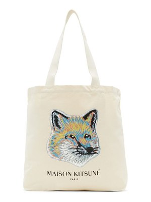 Maison Kitsune off-white pastel fox head tote