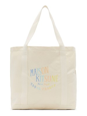 Maison Kitsune off-white rainbow palais royal shopping tote